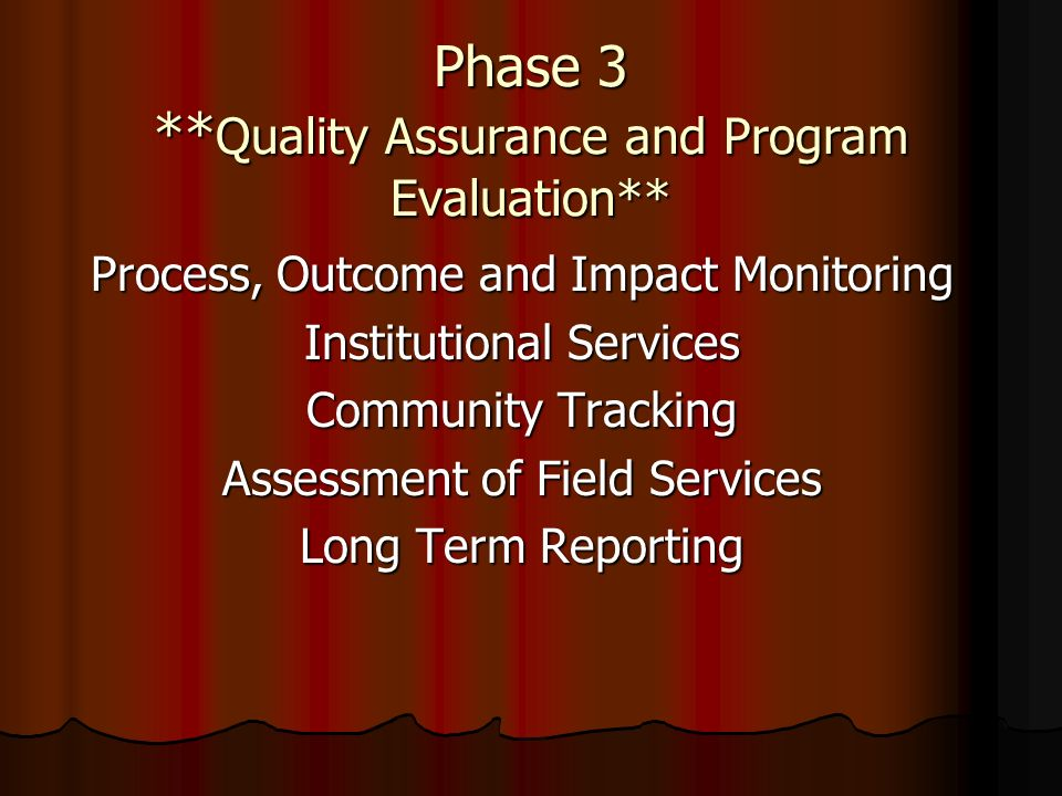 Phase 3 ** Quality Assurance and Program Evaluation** Process, Outcome and Impact Monitoring Institutional Services Community Tracking Assessment of F