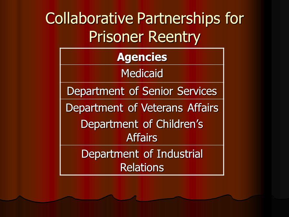Collaborative Partnerships for Prisoner Reentry Agencies Medicaid Department of Senior Services Department of Veterans Affairs Department of Childrens