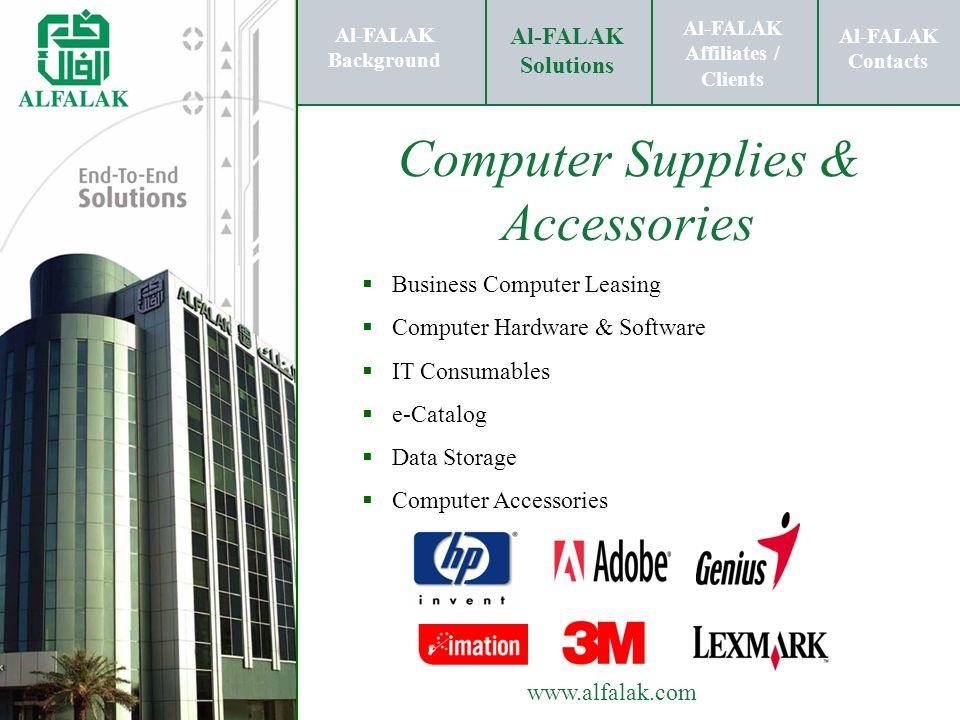 Al-FALAK Affiliates / Clients Al-FALAK Solutions Al-FALAK Contacts www.alfalak.com Computer Supplies & Accessories Business Computer Leasing Computer