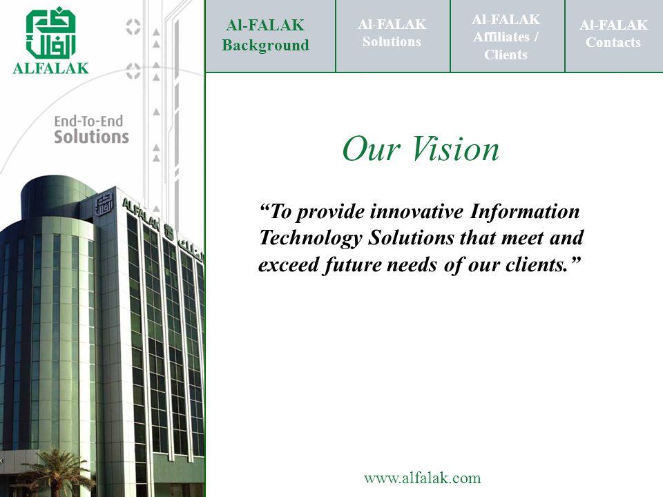 Al-FALAK Affiliates / Clients Al-FALAK Solutions Al-FALAK Contacts www.alfalak.com IT Risk Mitigation Al-FALAK Background Al-FALAK Affiliates / Clients Al-FALAK Solutions Al-FALAK Contacts Quality Assurance Consulting Consulting Testing Solutions Environment Management Regulatory Compliance Training