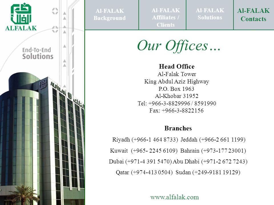 Al-FALAK Solutions Al-FALAK Contacts www.alfalak.com Our Offices… Al-FALAK Background Al-FALAK Affiliates / Clients Al-FALAK Solutions Al-FALAK Contac