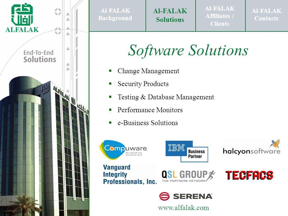 Al-FALAK Affiliates / Clients Al-FALAK Solutions Al-FALAK Contacts www.alfalak.com Software Solutions Change Management Security Products Testing & Da