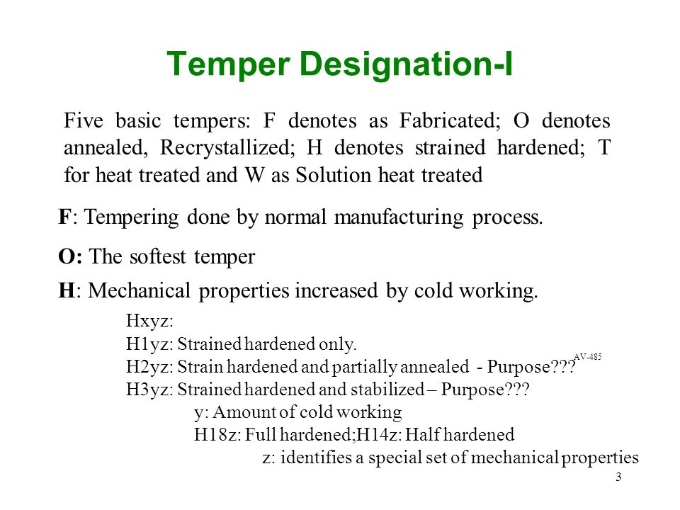 3 Temper Designation-I Five basic tempers: F denotes as Fabricated; O denotes annealed, Recrystallized; H denotes strained hardened; T for heat treate