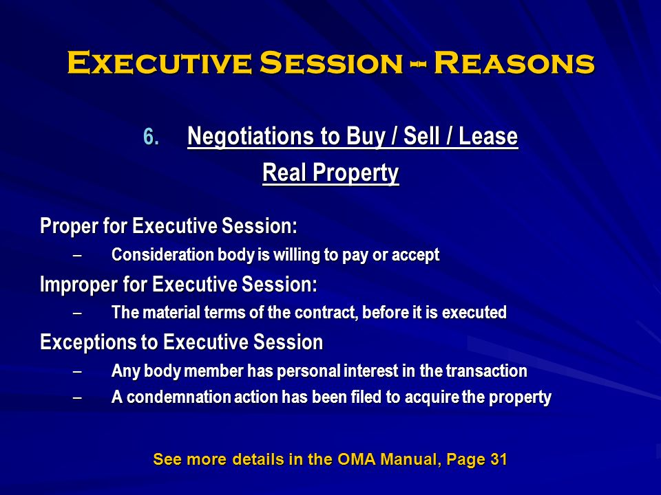 Executive Session -- Reasons 6.