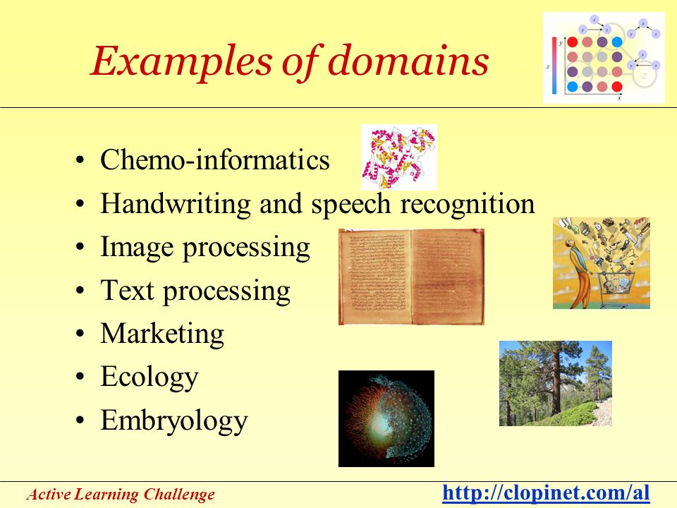 Active Learning Challenge http://clopinet.com/al Examples of domains Chemo-informatics Handwriting and speech recognition Image processing Text processing Marketing Ecology Embryology