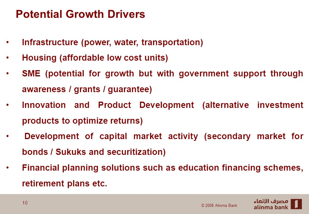 © 2008 Alinma Bank Potential Growth Drivers Infrastructure (power, water, transportation) Housing (affordable low cost units) SME (potential for growth but with government support through awareness / grants / guarantee) Innovation and Product Development (alternative investment products to optimize returns) Development of capital market activity (secondary market for bonds / Sukuks and securitization) Financial planning solutions such as education financing schemes, retirement plans etc.