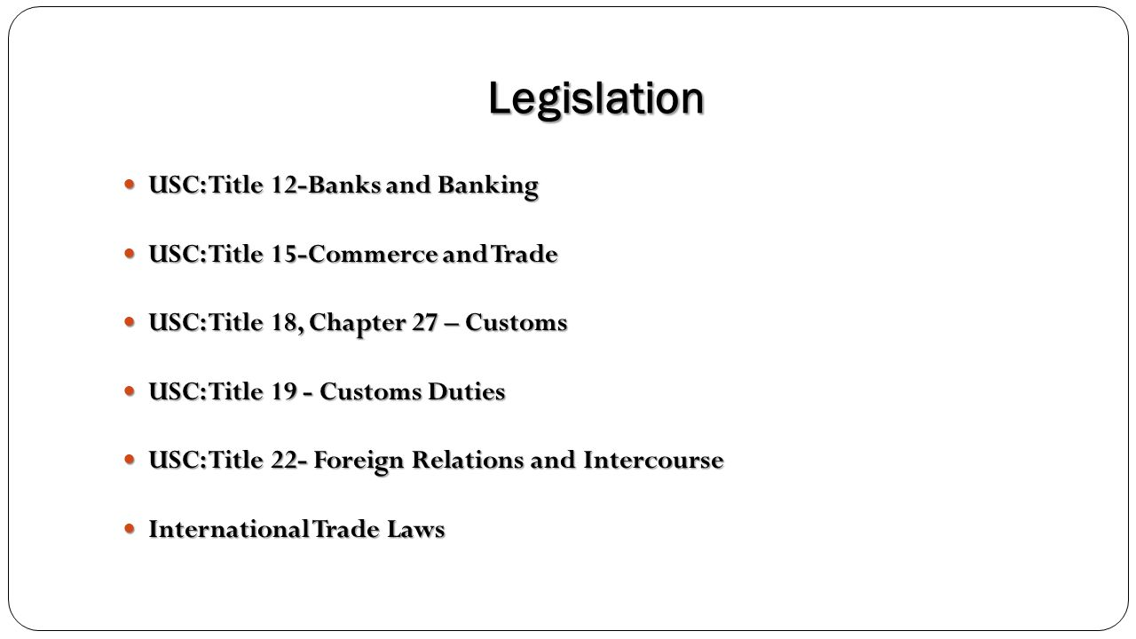 Legislation USC: Title 12-Banks and Banking USC: Title 12-Banks and Banking USC: Title 15-Commerce and Trade USC: Title 15-Commerce and Trade USC: Tit