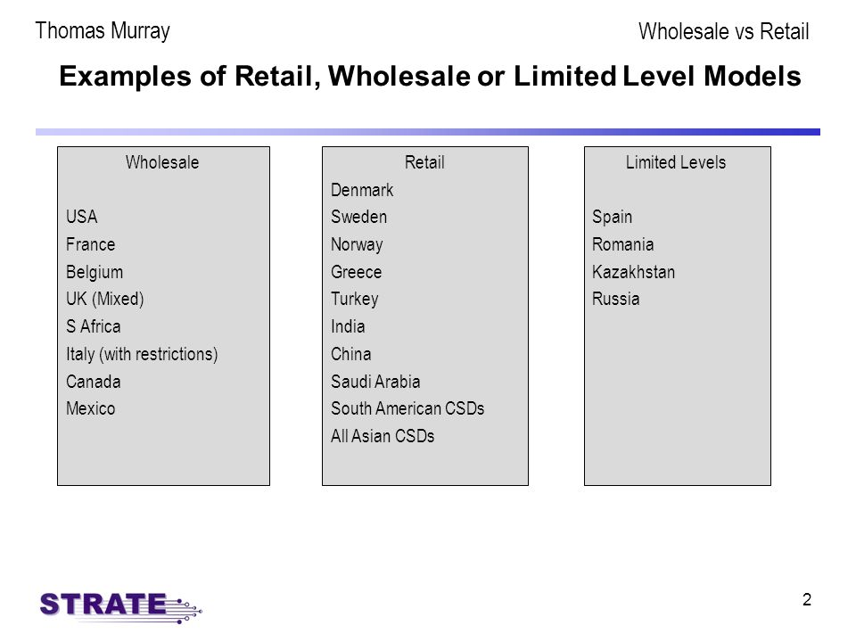 2 Examples of Retail, Wholesale or Limited Level Models Wholesale USA France Belgium UK (Mixed) S Africa Italy (with restrictions) Canada Mexico Retail Denmark Sweden Norway Greece Turkey India China Saudi Arabia South American CSDs All Asian CSDs Limited Levels Spain Romania Kazakhstan Russia Thomas Murray Wholesale vs Retail