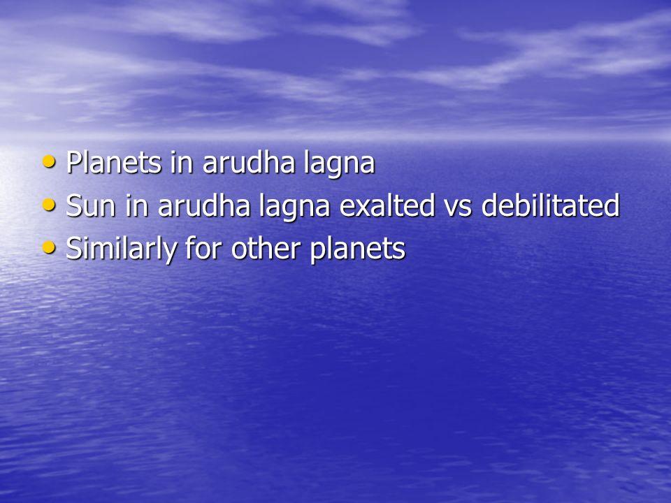 Planets in arudha lagna Planets in arudha lagna Sun in arudha lagna exalted vs debilitated Sun in arudha lagna exalted vs debilitated Similarly for ot