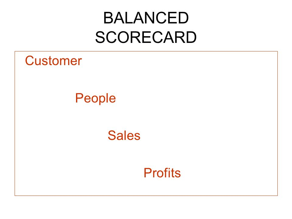 BALANCED SCORECARD Customer People Sales Profits