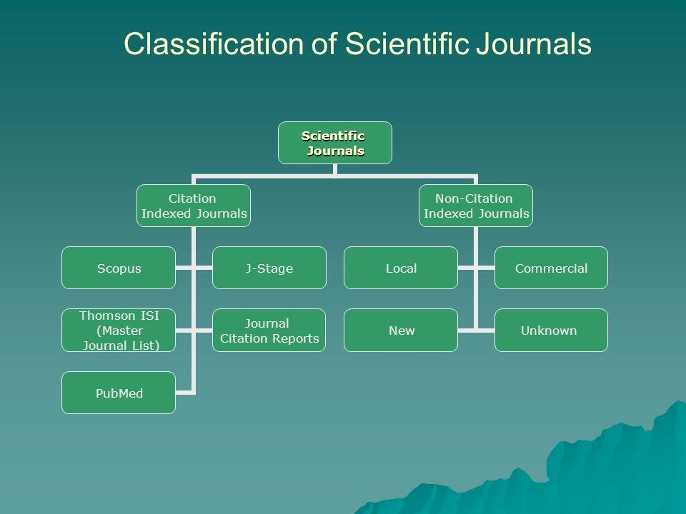 Classification of Scientific JournalsScientificJournals Citation Indexed Journals ScopusJ-Stage Thomson ISI (Master Journal List) Journal Citation Rep