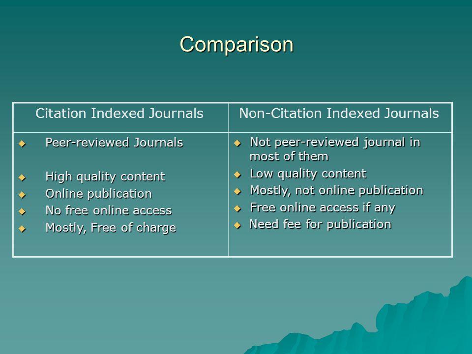 Comparison Non-Citation Indexed JournalsCitation Indexed Journals Not peer-reviewed journal in most of them Not peer-reviewed journal in most of them