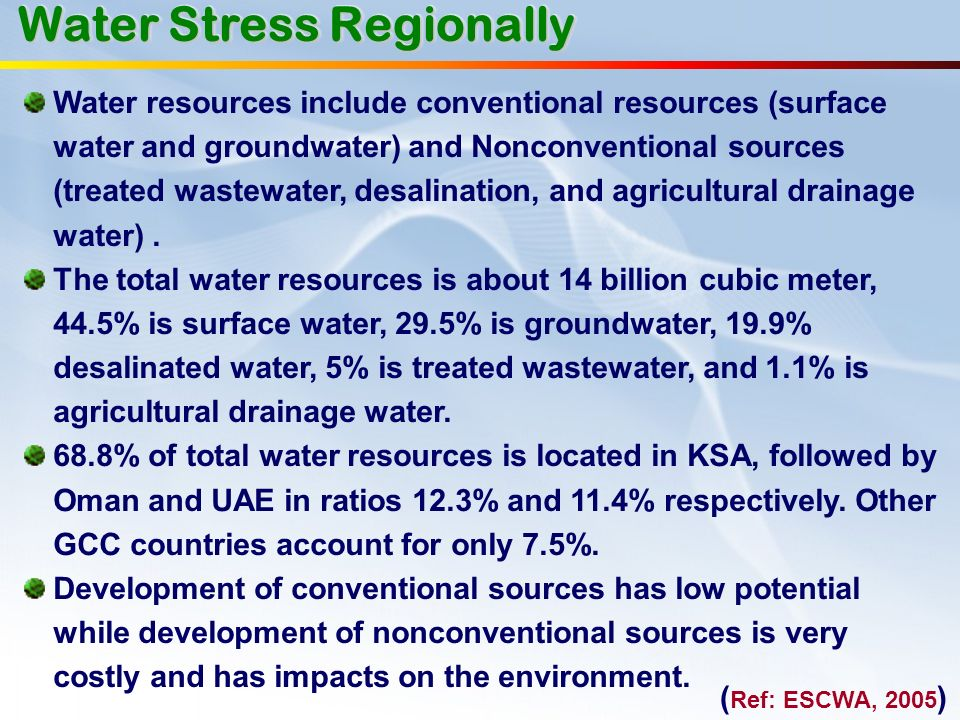 Water resources include conventional resources (surface water and groundwater) and Nonconventional sources (treated wastewater, desalination, and agri