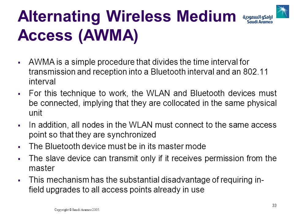 Copyright © Saudi Aramco 2005. 33 Alternating Wireless Medium Access (AWMA) AWMA is a simple procedure that divides the time interval for transmission