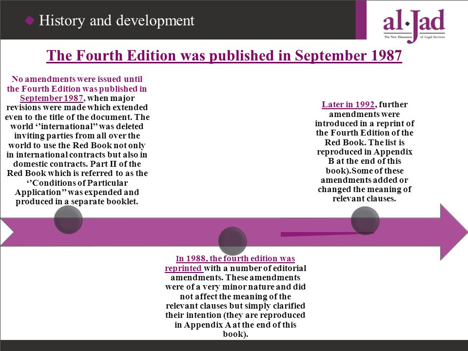 The Fourth Edition was published in September 1987 No amendments were issued until the Fourth Edition was published in September 1987, when major revi