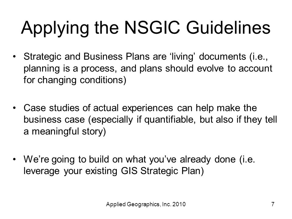 Applying the NSGIC Guidelines Applied Geographics, Inc.