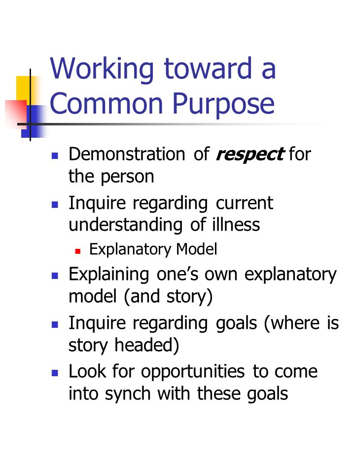 Working toward a Common Purpose Demonstration of respect for the person Inquire regarding current understanding of illness Explanatory Model Explainin