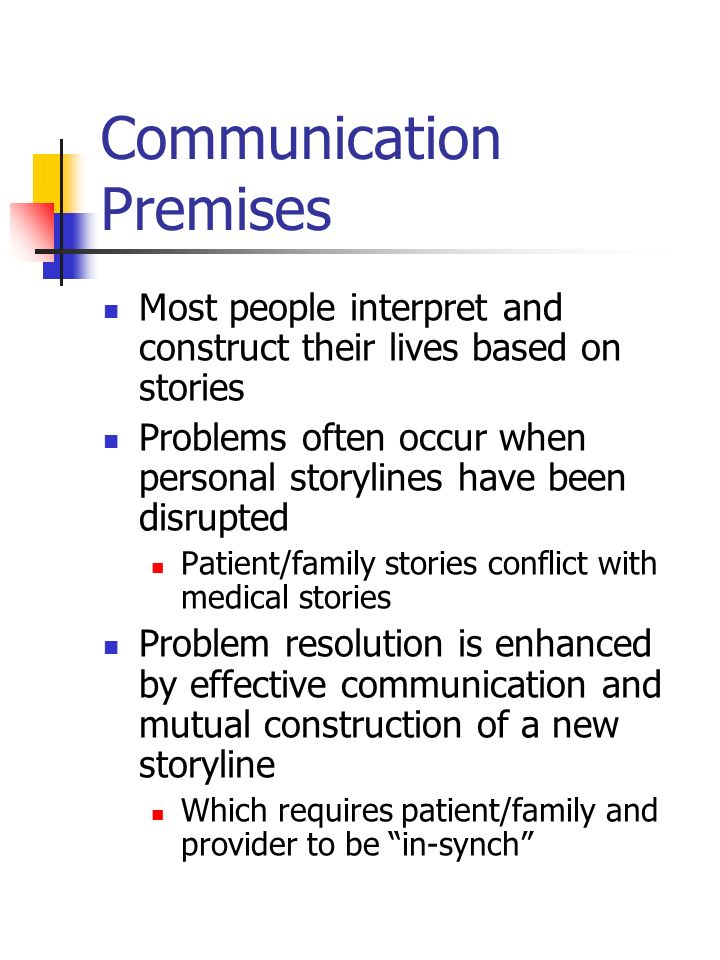 Communication Premises Most people interpret and construct their lives based on stories Problems often occur when personal storylines have been disrup