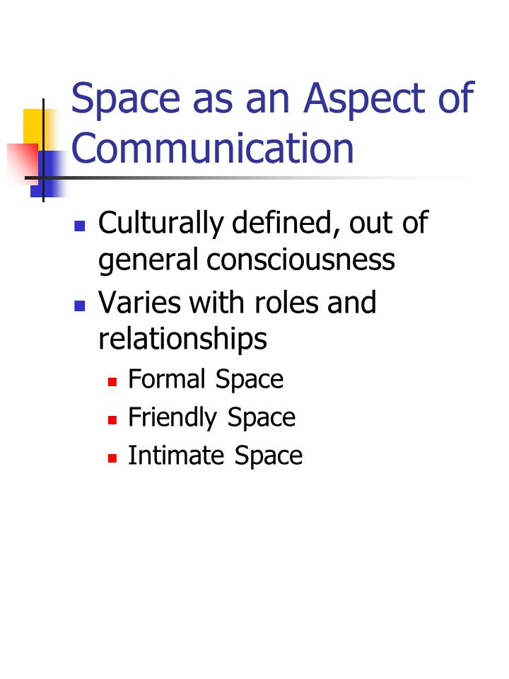 Space as an Aspect of Communication Culturally defined, out of general consciousness Varies with roles and relationships Formal Space Friendly Space I