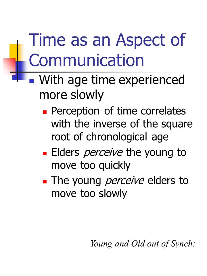 Time as an Aspect of Communication With age time experienced more slowly Perception of time correlates with the inverse of the square root of chronolo