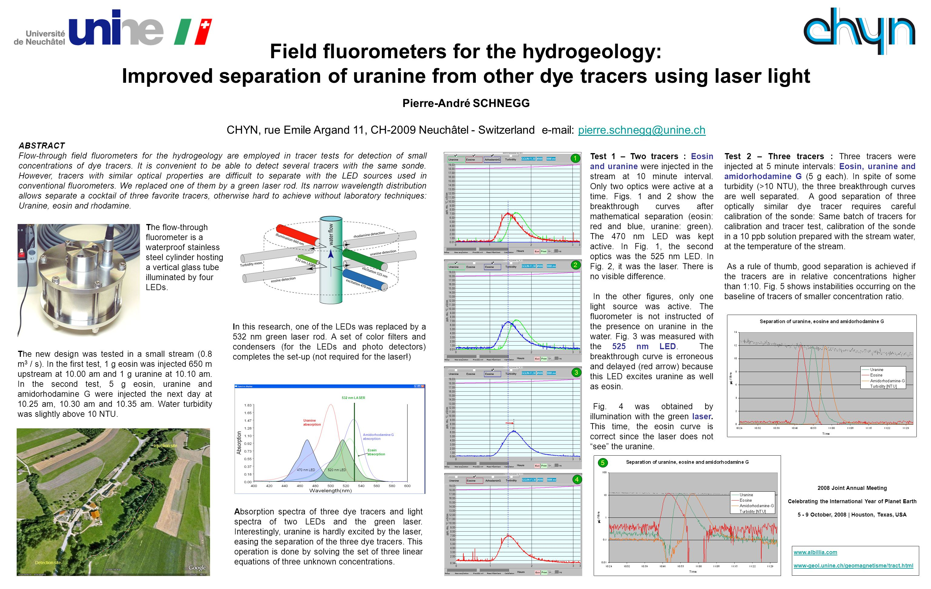 Field fluorometers for the hydrogeology: Improved separation of uranine from other dye tracers using laser light Pierre-André SCHNEGG CHYN, rue Emile Argand 11, CH-2009 Neuchâtel - Switzerland   ABSTRACT Flow-through field fluorometers for the hydrogeology are employed in tracer tests for detection of small concentrations of dye tracers.