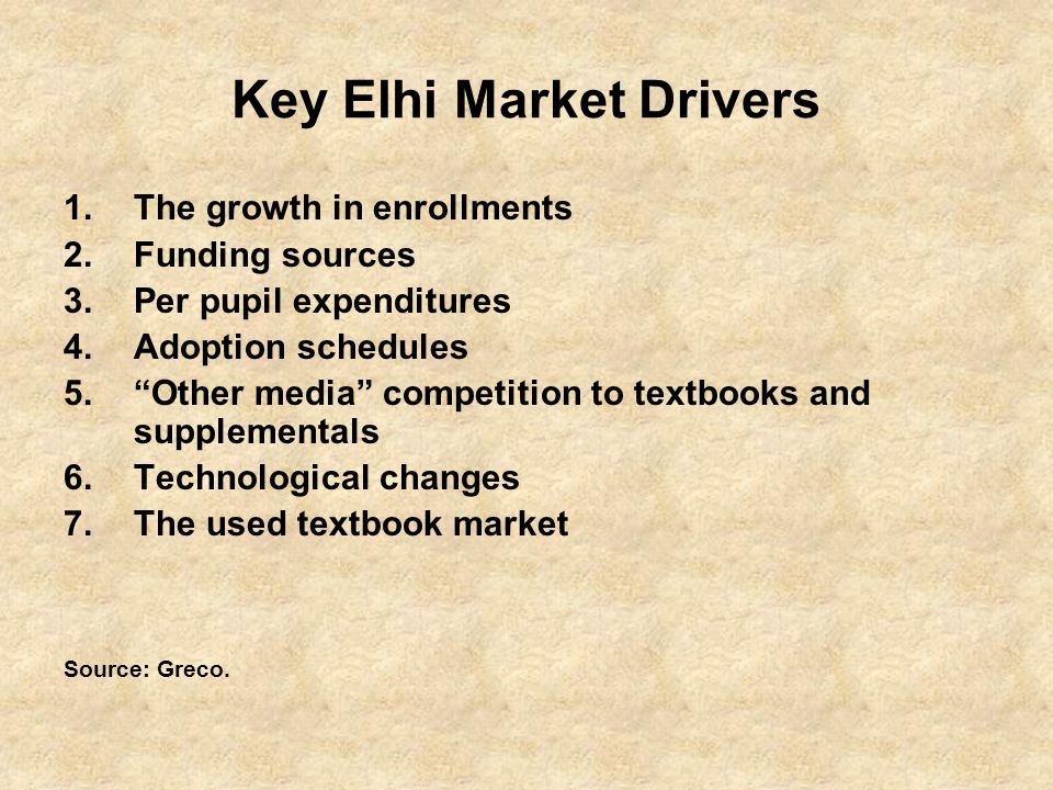 Key Elhi Market Drivers 1.The growth in enrollments 2.Funding sources 3.Per pupil expenditures 4.Adoption schedules 5.Other media competition to textbooks and supplementals 6.Technological changes 7.The used textbook market Source: Greco.