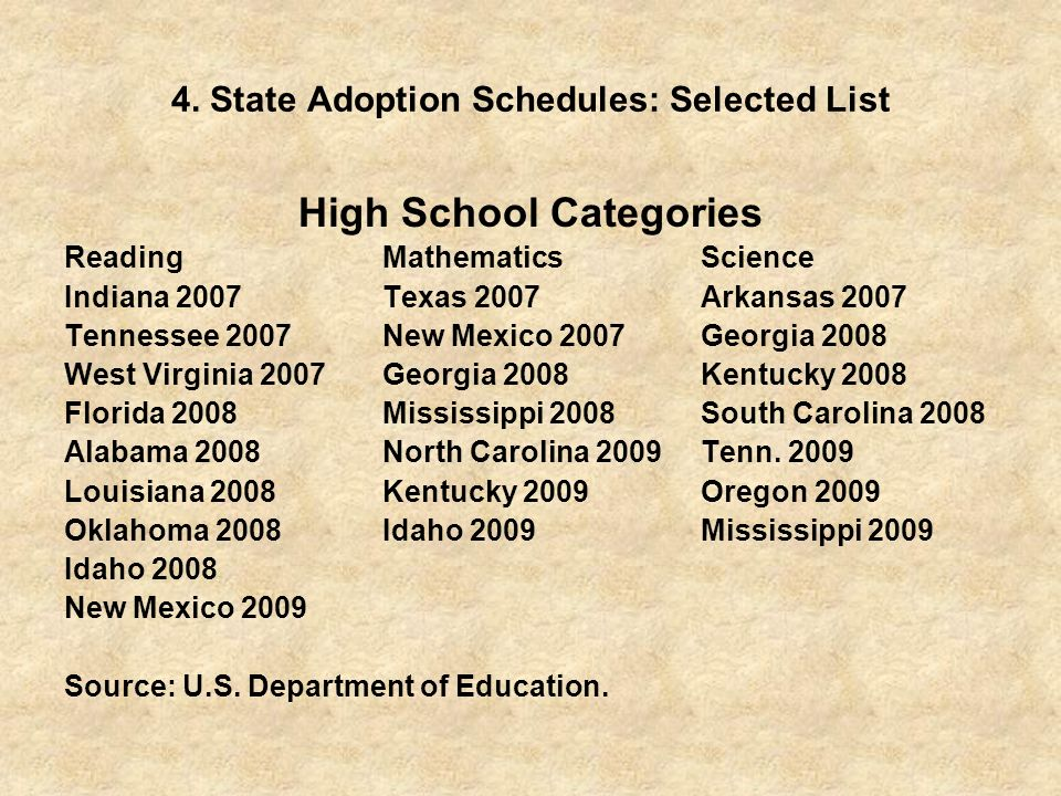 4. State Adoption Schedules: Selected List High School Categories ReadingMathematicsScience Indiana 2007Texas 2007Arkansas 2007 Tennessee 2007New Mexi