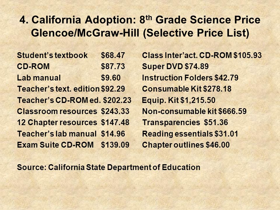 4. California Adoption: 8 th Grade Science Price Glencoe/McGraw-Hill (Selective Price List) Students textbook$68.47 Class Interact. CD-ROM $105.93 CD-