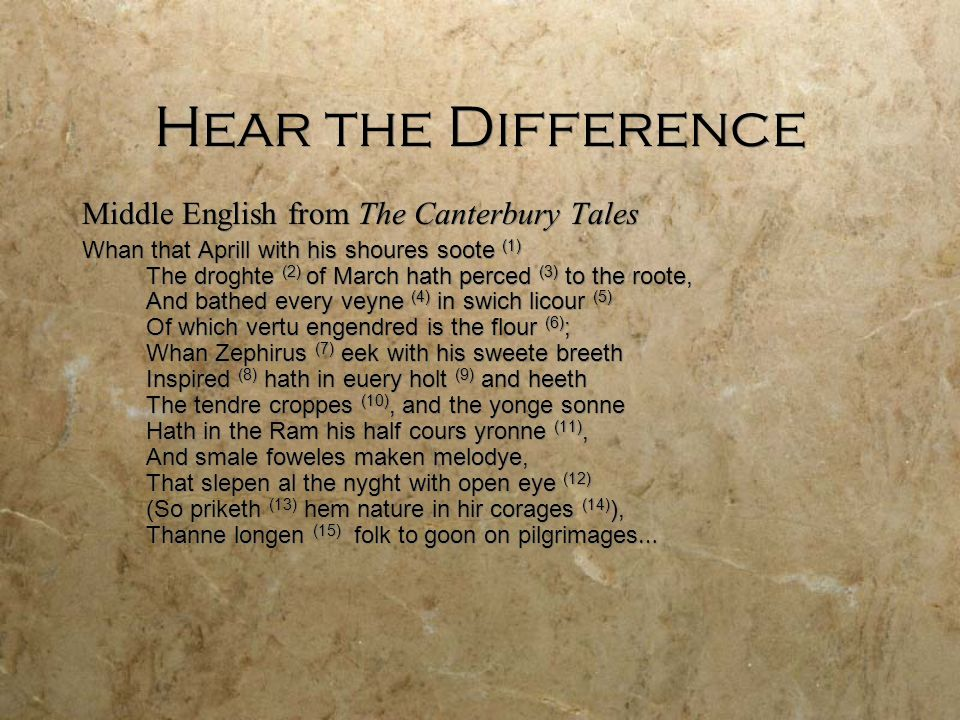 Hear the Difference Middle English from The Canterbury Tales Whan that Aprill with his shoures soote (1) The droghte (2) of March hath perced (3) to t