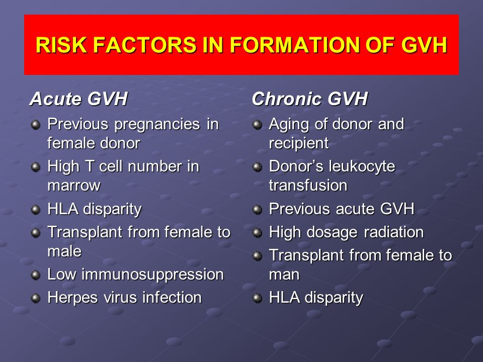 RISK FACTORS IN FORMATION OF GVH Acute GVH Previous pregnancies in female donor High T cell number in marrow HLA disparity Transplant from female to m