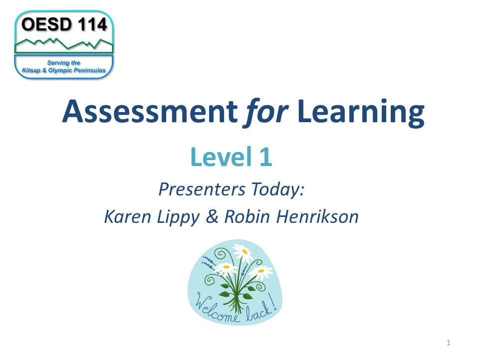 Assessment for Learning Level 1 Presenters Today: Karen Lippy & Robin Henrikson 1