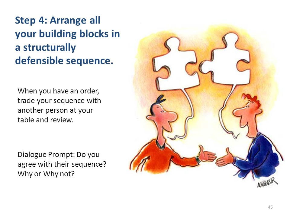 Step 4: Arrange all your building blocks in a structurally defensible sequence. When you have an order, trade your sequence with another person at you