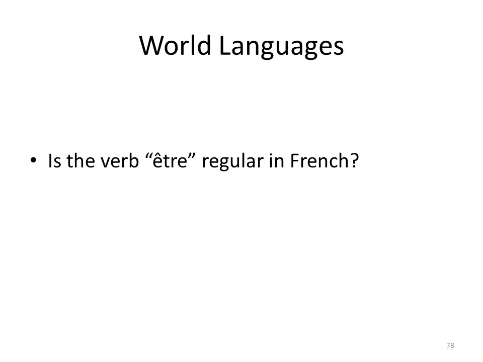 World Languages Is the verb être regular in French? 78