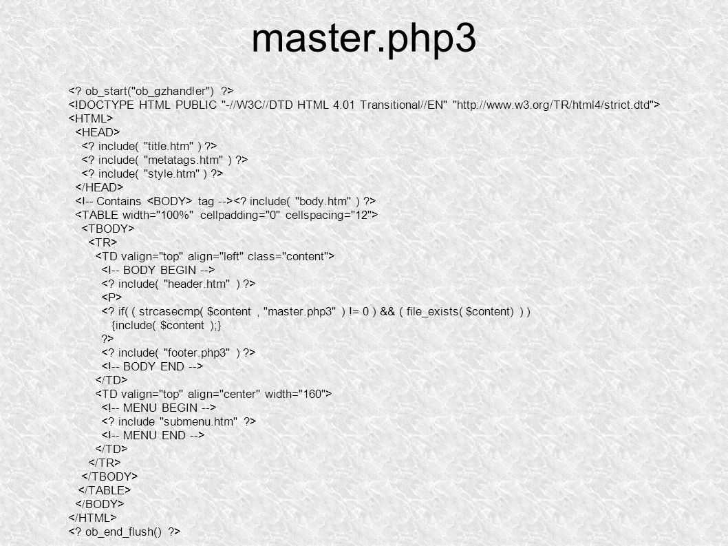 master.php3 tag --> <.