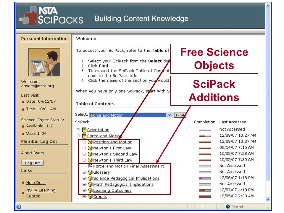 N A T I O N A L S C I E N C E T E A C H E R S A S S O C I A T I O N Turning Ideas into Reality: NSTA e-PD Portal Discuss need & challenge Present NSTA solution –Science Objects –SciPacks Present a PD system to support solution on a national scale Free Science Objects SciPack Additions