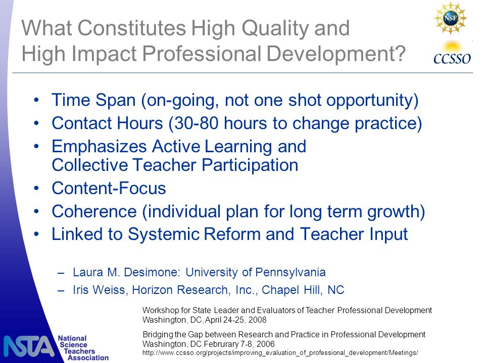What Constitutes High Quality and High Impact Professional Development.
