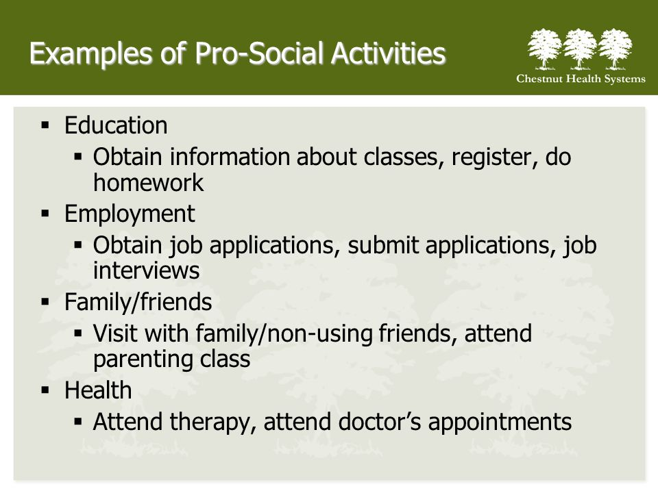 Examples of Pro-Social Activities Education Obtain information about classes, register, do homework Employment Obtain job applications, submit applica