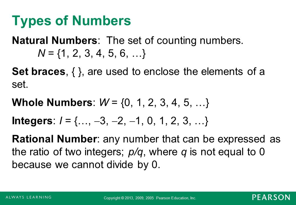 Copyright © 2013, 2009, 2005 Pearson Education, Inc. Types of Numbers Natural Numbers: The set of counting numbers. N = {1, 2, 3, 4, 5, 6, …} Set brac
