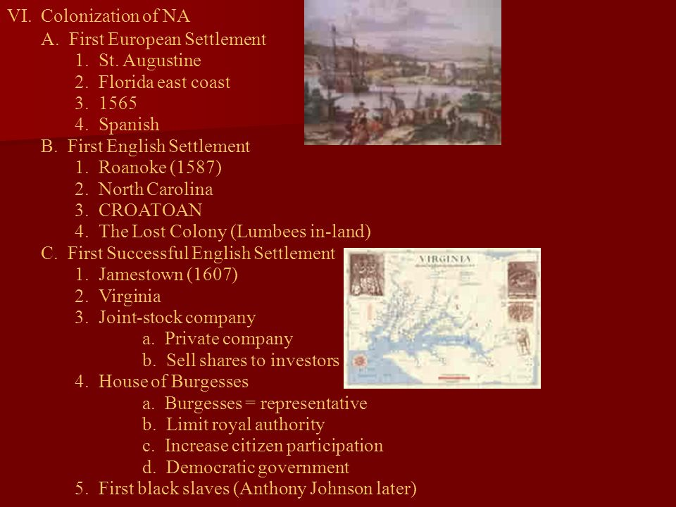 VI.Colonization of NA A. First European Settlement 1. St. Augustine 2. Florida east coast 3. 1565 4. Spanish B. First English Settlement 1. Roanoke (1