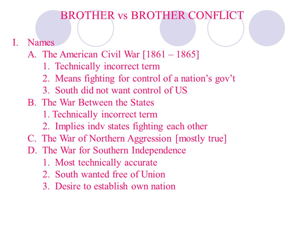 BROTHER vs BROTHER CONFLICT I.Names A. The American Civil War [1861 – 1865] 1. Technically incorrect term 2. Means fighting for control of a nations g