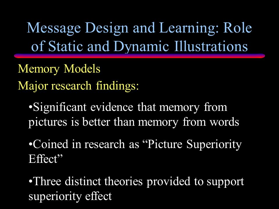 Message Design and Learning: Role of Static and Dynamic Illustrations Memory Models Major research question: Is memory recall from images greater than