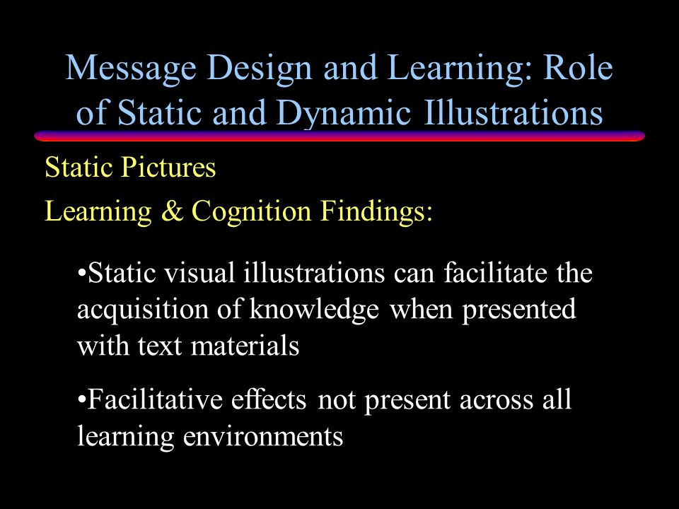 Message Design and Learning: Role of Static and Dynamic Illustrations Memory Models Significant evidence that memory from pictures is better than memo