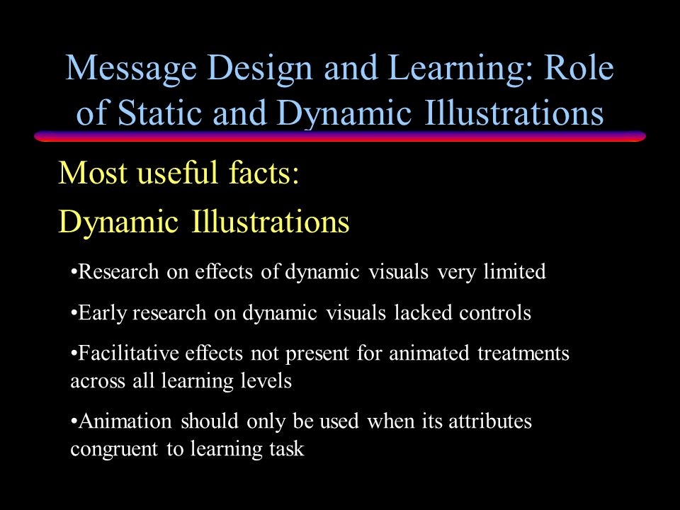 Message Design and Learning: Role of Static and Dynamic Illustrations Dynamic Pictures Learning & Cognition Findings: Animation effective when motion