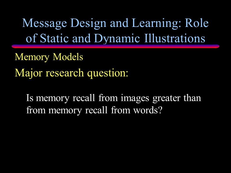 Message Design and Learning: Role of Static and Dynamic Illustrations Realism defined as copying or conveying nature Measured by degree of mirroring r