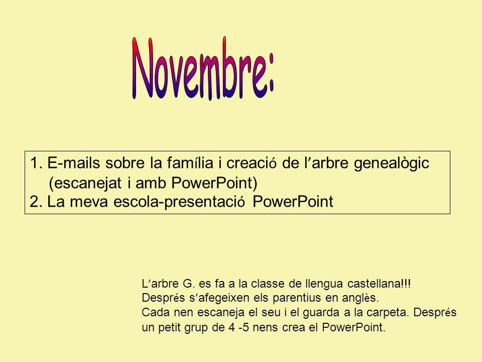1. E-mails sobre la fam í lia i creaci ó de l arbre genealògic (escanejat i amb PowerPoint) 2. La meva escola-presentaci ó PowerPoint L arbre G. es fa
