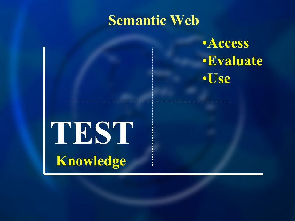 Semantic Web Knowledge TEST Access Evaluate Use