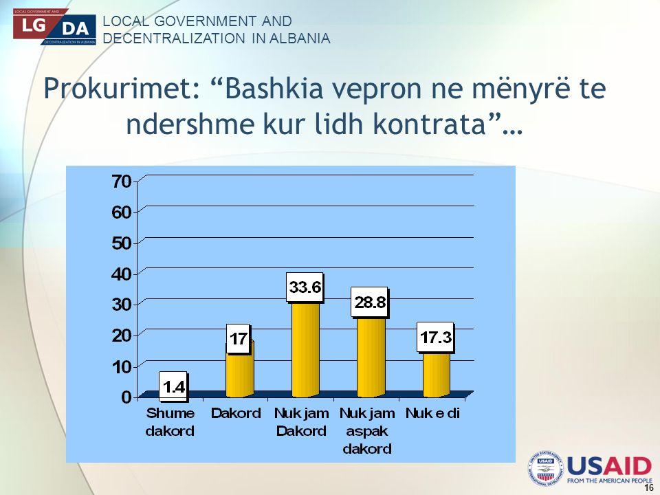 LOCAL GOVERNMENT AND DECENTRALIZATION IN ALBANIA 16 Prokurimet: Bashkia vepron ne mënyrë te ndershme kur lidh kontrata…
