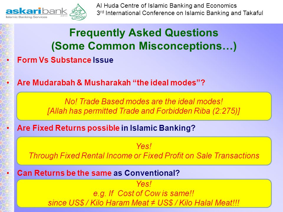 Al Huda Centre of Islamic Banking and Economics 3 rd International Conference on Islamic Banking and Takaful Conventional Vs Islamic Economics Differe