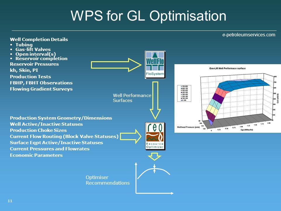 e-petroleumservices.com 11 WPS for GL Optimisation Well Completion Details Tubing Gas-lift Valves Open interval(s) Reservoir completion Reservoir Pres