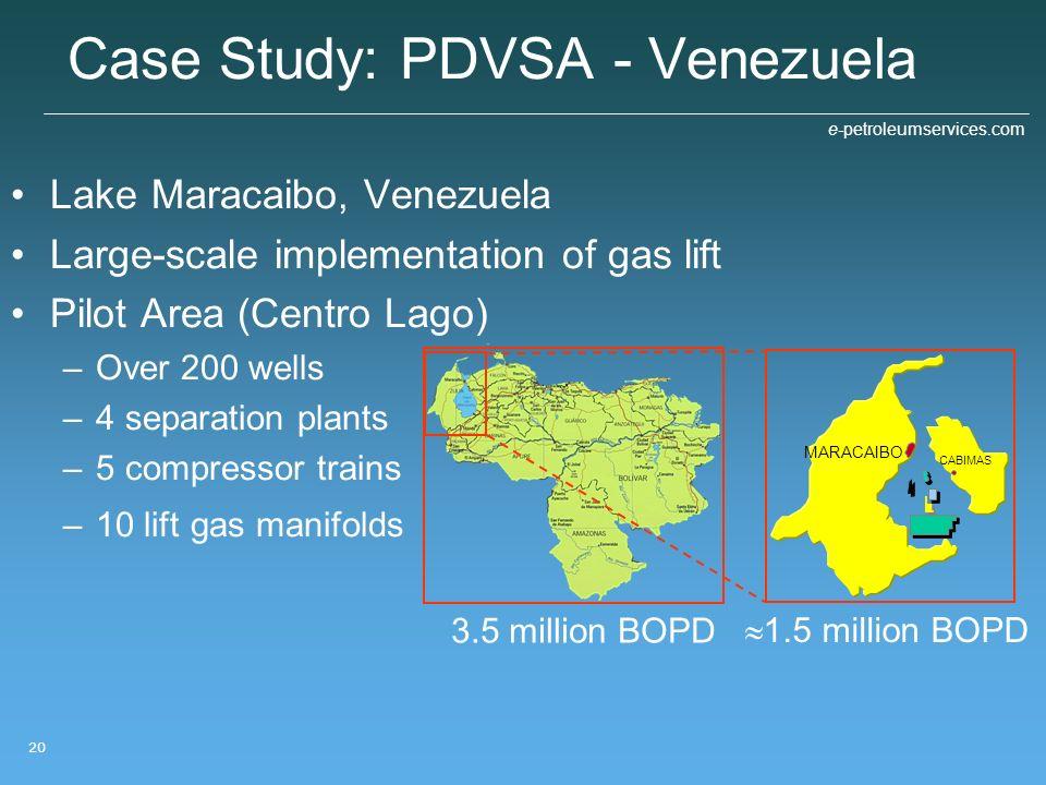e-petroleumservices.com 20 3.5 million BOPD Case Study: PDVSA - Venezuela Lake Maracaibo, Venezuela Large-scale implementation of gas lift Pilot Area